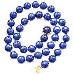 Royal Blue Natural Lapis Lazuli Bead Necklace