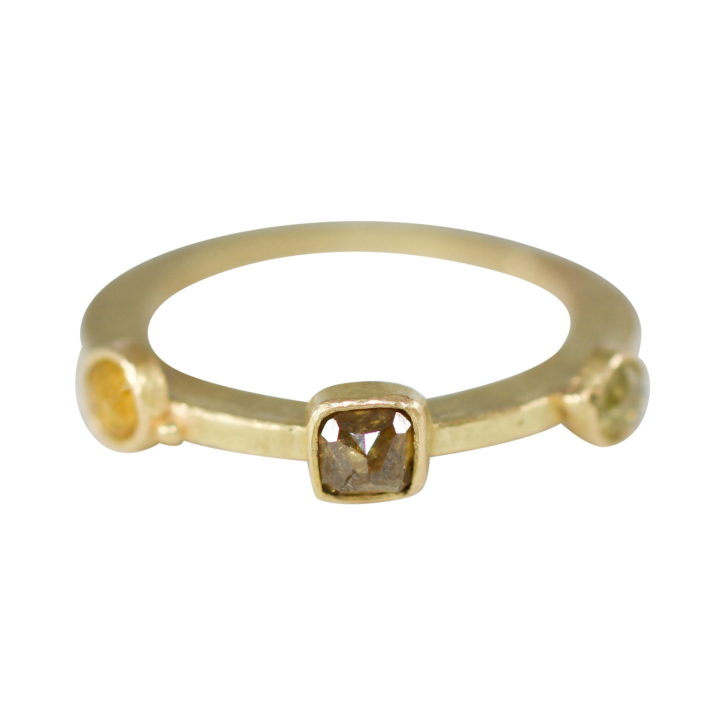 Fancy Color Diamonds Three-Stone 18K Gold Bridal Engagement Ring