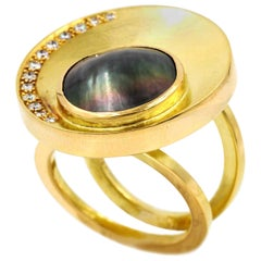 Janis Kerman, 18 Karat Gold Diamond and Pearl Crescent Ring