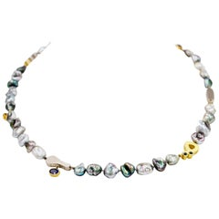 Janis Kerman, Keshi Pearl and Gem Stone Necklace