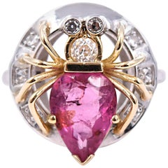 2.90 Carat Pink Tourmaline and .20 Carat Diamond Spider Ring in 14 Karat Gold