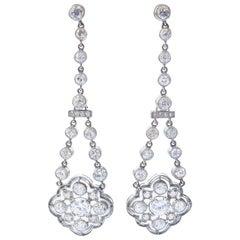 Art Deco Diamond Platinum Drop Earrings