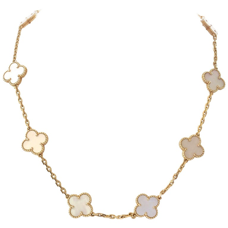 Van Cleef & Arpels Alhmabra Mother of Pearl Necklace For Sale