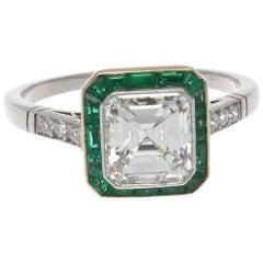 Art Deco Revival 1.54 Carat GIA Diamond Emerald Platinum Engagement Ring