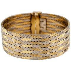 Gubelin Estate 18 Karat Two-Tone Gold Chevron Pattern Bracelet with Hidden Clasp