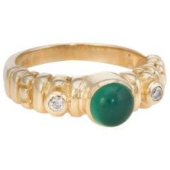 Vintage Chrysoprase Diamond Stacking Ring 14 Karat Yellow Gold Estate Jewelry