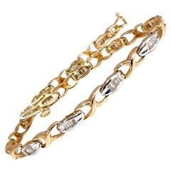 1.00 Carat Baguette X Diamonds Bracelet Two-Toned 14 Karat