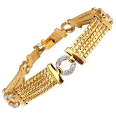 .50 Carat Diamonds Circle Link Bracelet 14 Karat Vintage Revisit