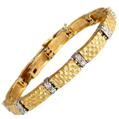 .76 Carat Spanish Revival Natural Diamond Weave Bracelet 14 Karat