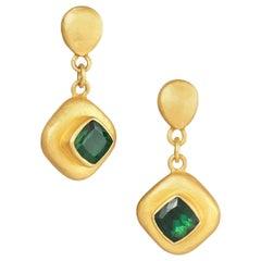 Lika Behar Yellow Gold and Green Tourmaline Earrings