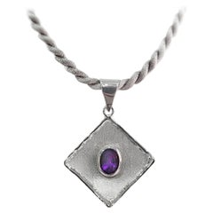 Yianni Creations 1.75 Carat Amethyst Fine Silver and Palladium Pendant