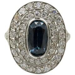 Vintage Antique Platinum Edwardian Sapphire and Old European Cut Diamond Ring