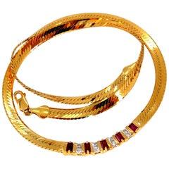 1.00 Carat Natural Ruby Diamonds Herringbone Necklace 14 Karat