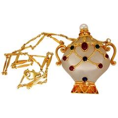 2.00ct Natural Sapphire Ruby Emerald Diamond Perfume Flask Jar Pendant 18 Karat