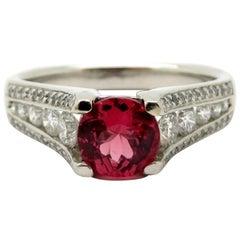 Estate Designer Ritani Platinum Round Diamond & Round Brilliant Cut Spinel Ring