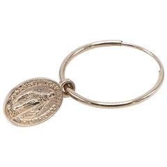 Gold Miraculous Medal Virgin Mary Hoop Earrings J DAUPHIN