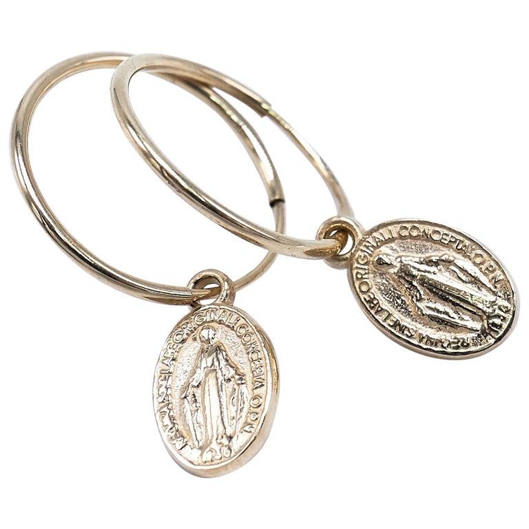 Gold Miraculous Medal Virgin Mary Hoop Earrings J Dauphin For
