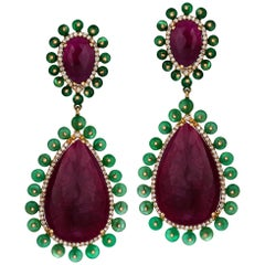 Rose Gold Diamond Slice Ruby Emerald Drop Earrings