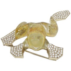 Vhernier Curved Rock Crystal Imperial Topaz Frog Brooch Set in 18 Karat Gold