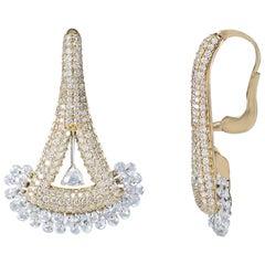 Studio Rêves 18 Karat Gold, Rose Cut Diamonds Triangular Lever Back Earrings