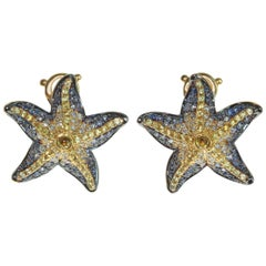 Diamonds Sapphire 18 Karat Yellow Gold Sea Star Earrings