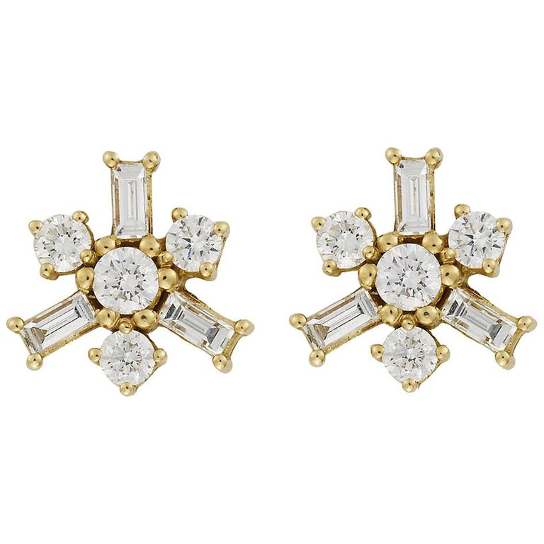"18 Karat Yellow Gold White Diamond ""Snow Flake"" Earrings For Sale"