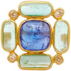 Scrives Tanzanite Emeralds Diamonds 22 Karat Gold Ring