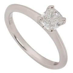 GIA Certified Platinum Cushion Cut Diamond Engagement Ring 0.81 Carat