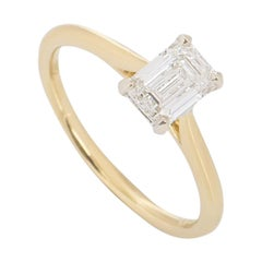 GIA Certified Yellow Gold Emerald Cut Diamond Engagement Ring 0.92 Carat