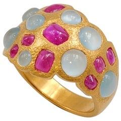 Scrives Rubies Aquamarines 22 karat Gold Hammered Ring