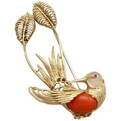 Italian Ruby, Moonstone, Coral and Yellow Gold Hummingbird Brooch