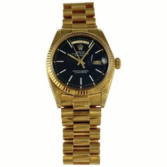 Rolex 18 Karat Yellow Gold Daydate President Black Confetti Dial Automatic Watch