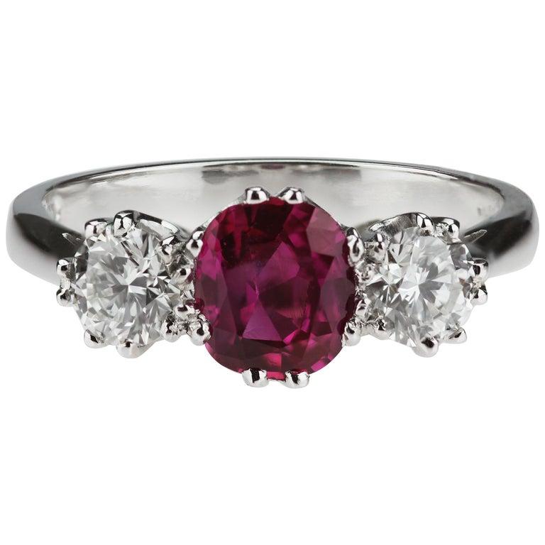 Certified Natural Burmese Burma Ruby 1.04 ct, Diamond 3-Stone Ring in Platinum