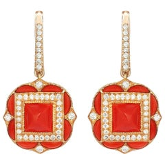Rose Gold Diamond Coral Earrings