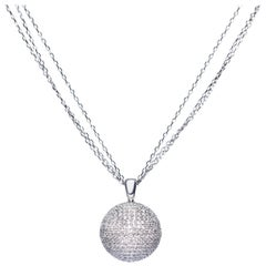 1.30 Carat Disco Ball Round Brilliant Diamonds 18 KT White Gold Necklace Pendant