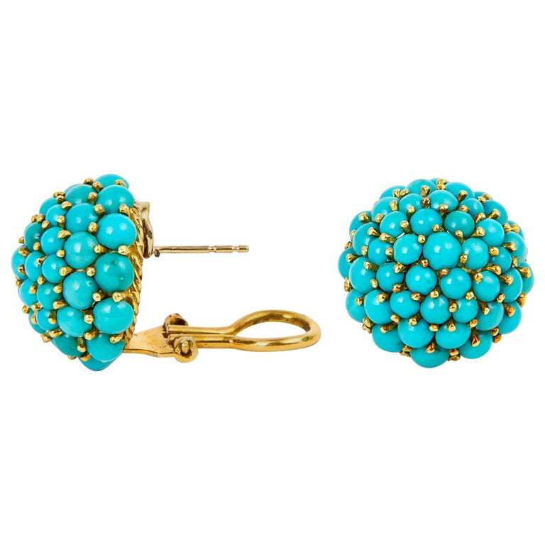 Vintage Turquoise and Gold Dome Earring