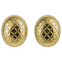 Vintage Cartier Quilted Gold Earrings