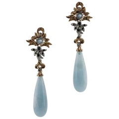 Aquamarine Diamonds Rose and White Gold Earrings