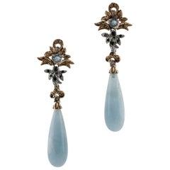 Aquamarine Diamonds Rose and White Gold Earrings