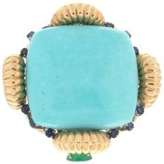 Turquoise 18 Karat Yellow Gold Emerald, Sapphires Cocktail Ring
