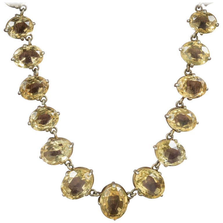 Antique Victorian Citrine Necklace Gold Gilt, circa 1900