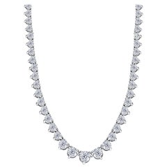 20.00 Carat Diamond Riviera Three Claws 18 Karat White Gold Tennis Line Necklace