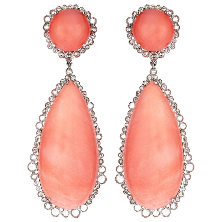White Gold Diamond Rose Cut Coral Cocktail Earrings