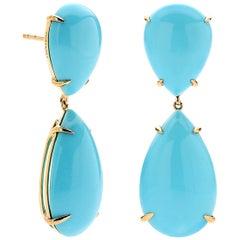 18 Karat Yellow Gold 34.47 Carat Stabilized Sleeping Beauty Turquoise Earrings
