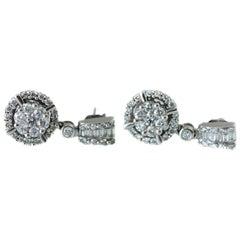 1 Carat Total Diamond Drop Earrings in 14 Karat White Gold