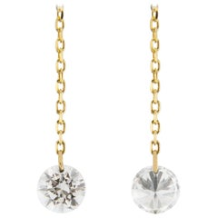 Jona Floating White Diamond 18 Karat Yellow Gold Earrings