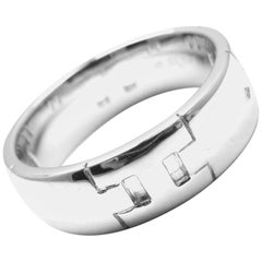 Hermes H Motif Wide White Gold Band Ring