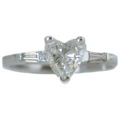 1940s 0.58 Carat Total Heart Shaped Diamond 14 Karat White Gold Engagement Ring