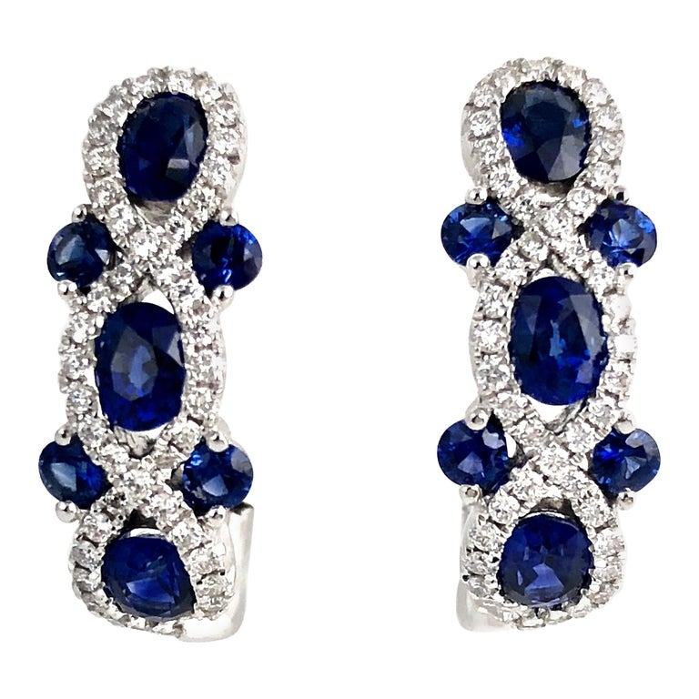 2.52 Carat Sapphire and 0.48 Carat Diamond Lever-Back Hoop Earring in White Gold For Sale