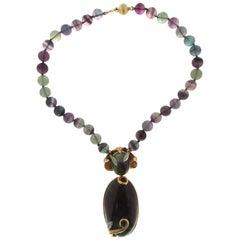 Jadeite Jade 18 Karat Yellow and White Gold Diamonds Pendant Necklace